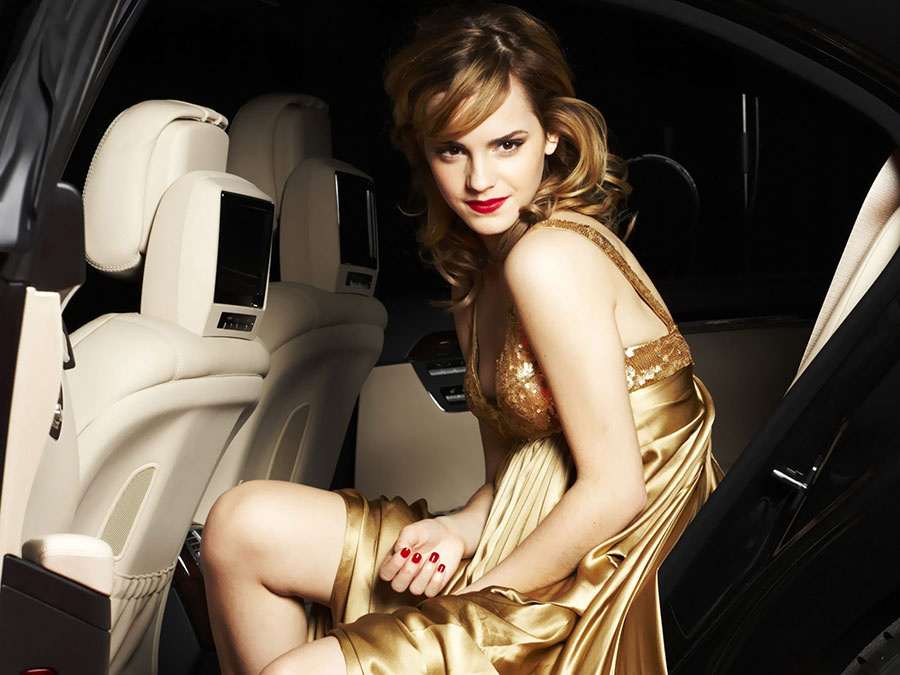 Mr Bean Car Wallpaper >> Emma Watson Golden Dress wallpaper• PoPoPics.com