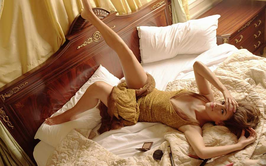 Sexy legs on bed