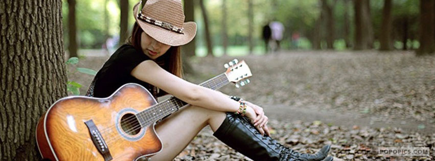 Cow Girl Stylish With Guitar Facebook Covers
