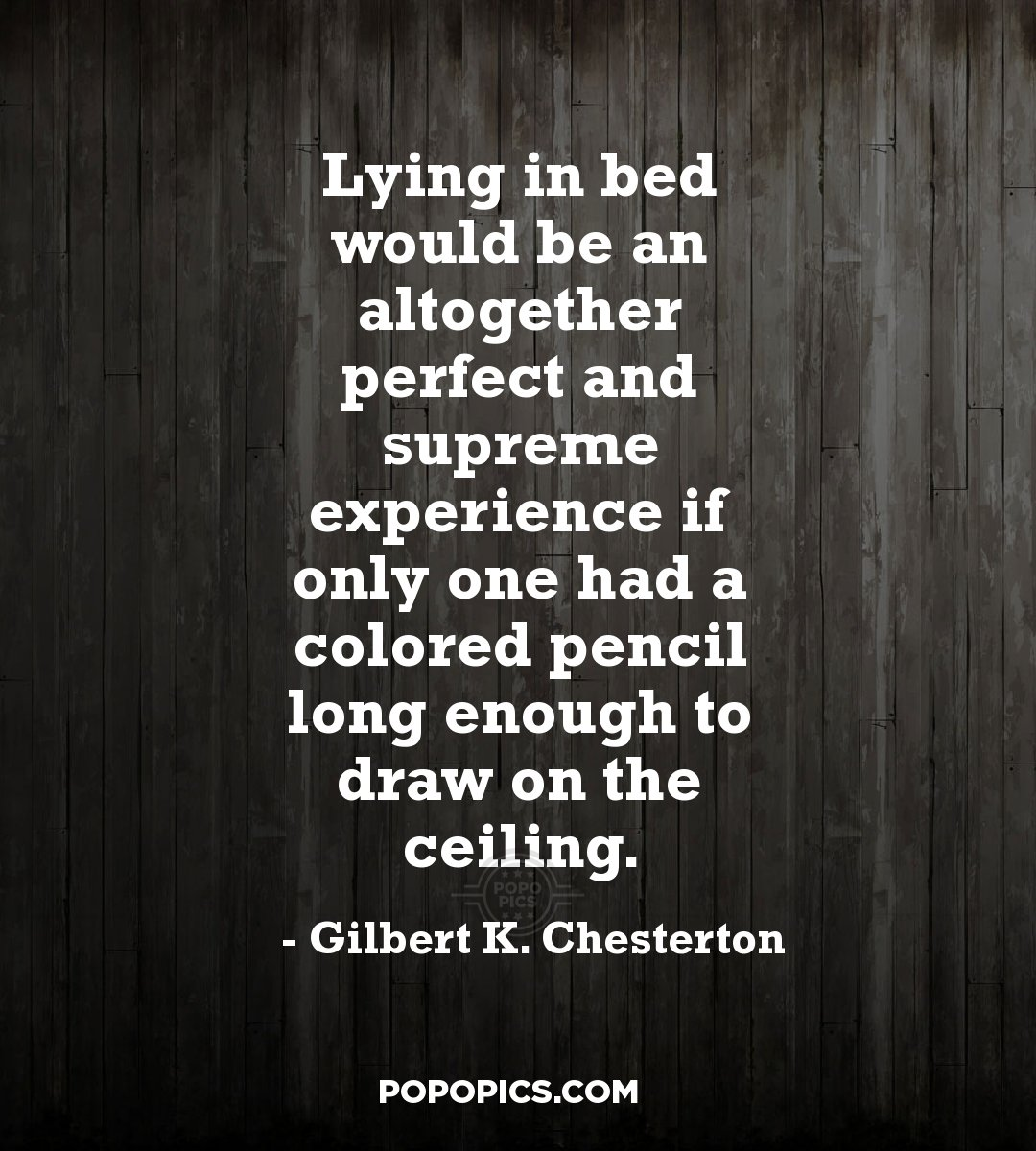 gk chesterton essay on lying in bed